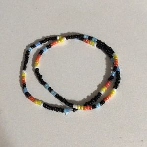 Black and rainbow beaded choker necklace